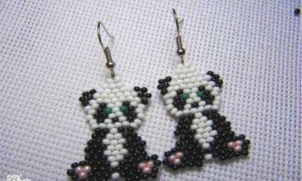 DIY Beaded panda Earrings