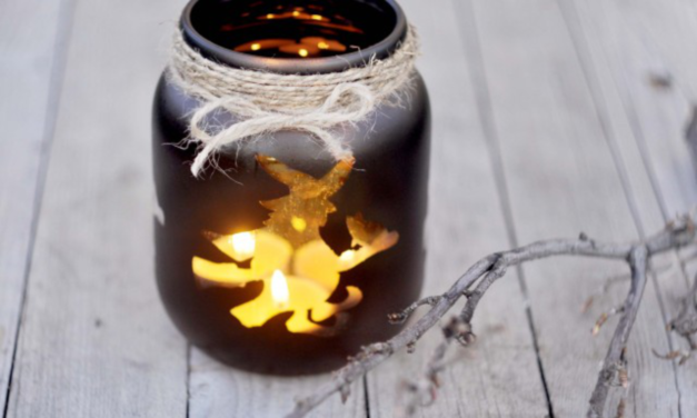 DIY Halloween Mason Jar Luminaries
