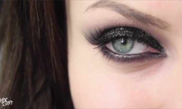 Black glitter smokey eyes video tutorial