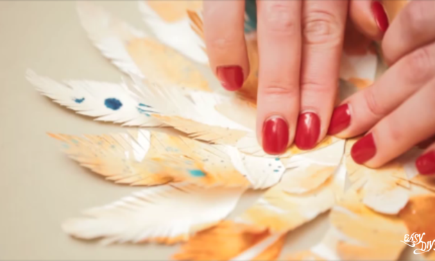 Paper feather collage wall art tutorial